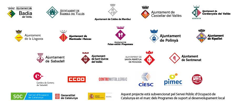Logotips d'organitzacions empresarials, ajuntaments, sindicats, entitats econòmiques, i entitats educatives participants en estratègia territorial