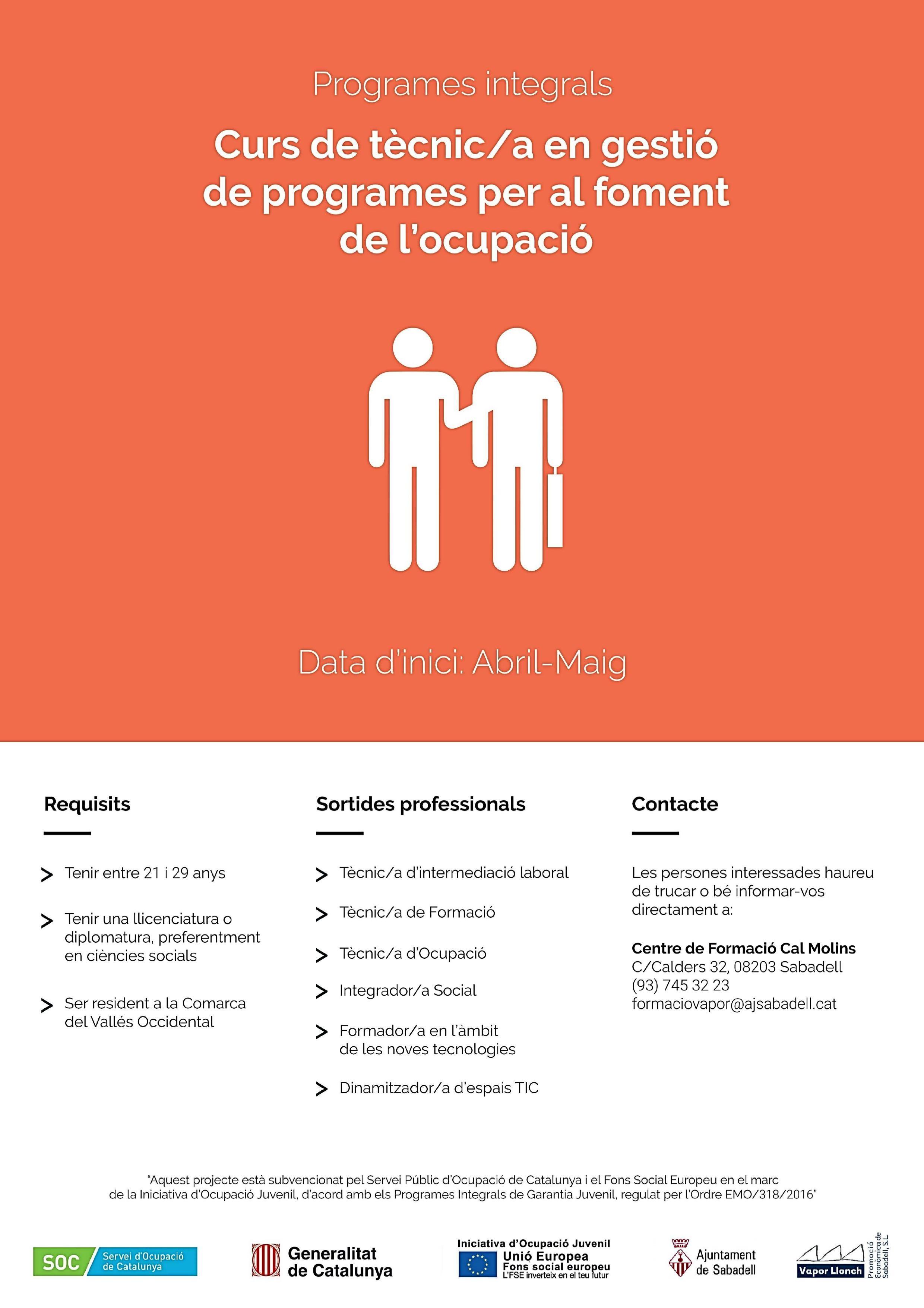 Curs de Tècnic/a en Gestió de Programes per al Foment de l'Ocupació